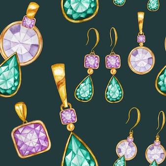 ゴールドフレームにクリスタルのイヤリングとペンダントをあしらったシームレスなパターン。手描きの水彩ジェムストーンダイヤモンドジュエリー。明るい色は緑、紫の生地の質感。スクラップブッキングの緑の背景