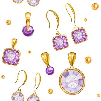 ゴールドフレームにクリスタルのイヤリングとペンダントをあしらったシームレスなパターン。手描きの水彩ジェムストーンダイヤモンドジュエリー。明るい色は緑、紫の生地の質感。スクラップブッキングの白い背景