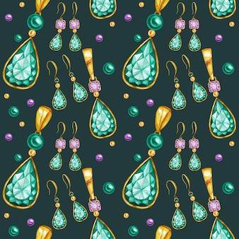 Seamless pattern with earrings and pendants of crystal in a gold frame. hand drawn watercolor gemstone diamond jewelry. bright colors green, purple fabric texture. green background for scrapbooking