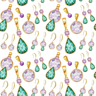 Seamless pattern with earrings and pendants of crystal in a gold frame. hand drawn watercolor gemstone diamond jewelry. bright colors green, purple fabric texture. white background for scrapbooking