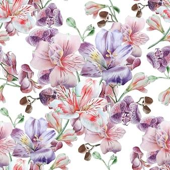 花とのシームレスなパターン。アルストロメリア。水彩イラスト。手で書いた