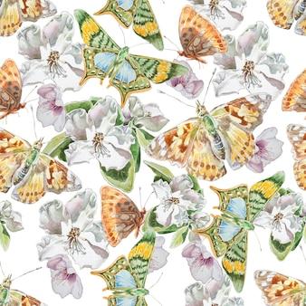 Бесшовный фон с цветами и бабочками