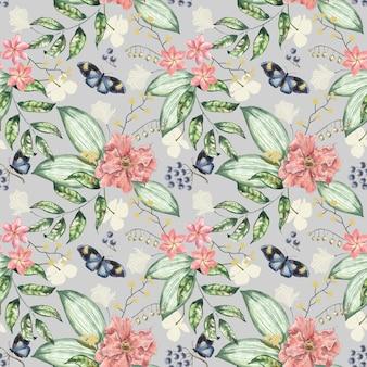 花、ベリー、蝶とのシームレスなパターンと水彩イラストを残します