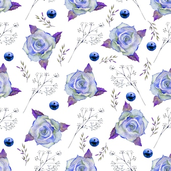 Seamless pattern with flowers in blue tones