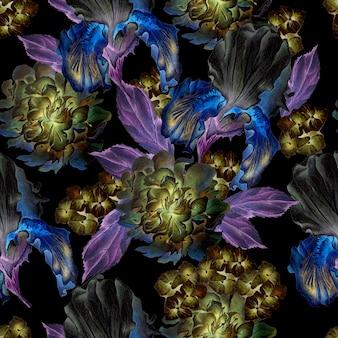 花とのシームレスなパターン。虹彩。牡丹。水彩イラスト。手で書いた。