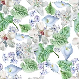 꽃으로 완벽 한 패턴입니다. 백합. 칼라. 히비스커스. 수채화 그림. 손으로 그린.