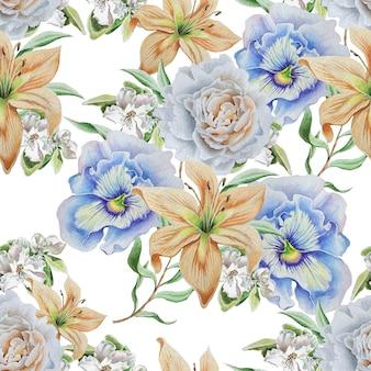 花とのシームレスなパターン。リリー。パンジー。ローズ。手で書いた。
