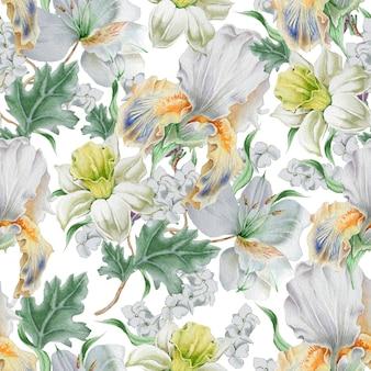 花とのシームレスなパターン。水仙。虹彩。リリー。水彩イラスト。手で書いた。
