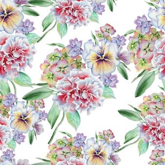 花とのシームレスなパターン。パンジー。カーネーション。あじさい。水彩イラスト。手で書いた。