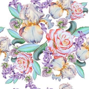 花とのシームレスなパターン。ローズ。虹彩。ヒヤシンス。水彩イラスト。手で書いた。