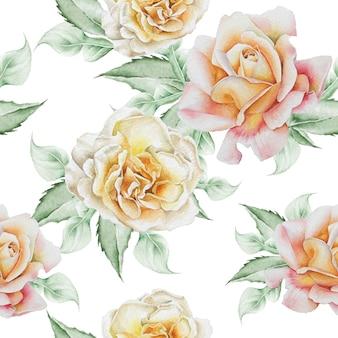 花とのシームレスなパターン。ローズ。水彩イラスト。手で書いた。