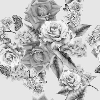 花とのシームレスなパターン。水彩イラスト。手で書いた。