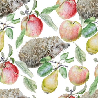 Seamless pattern with fruits and hedgehog