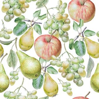 果物とのシームレスなパターン。