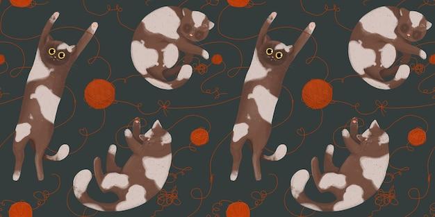 Бесшовный фон с забавными кошками с клубками пряжи. ручной рисунок в мультяшном стиле.