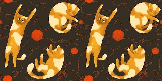 Бесшовный фон с забавными кошками с клубками пряжи. играющие и спящие кошки.