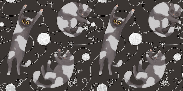 Seamless pattern with funny cats with balls of yarn. hand drawing in cartoon style. playing and sleeping cats.