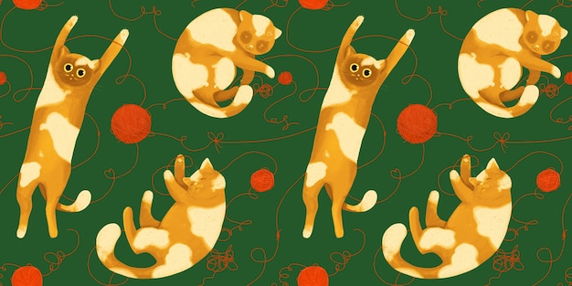 Seamless pattern with funny cats with balls of yarn. hand drawing in cartoon style.