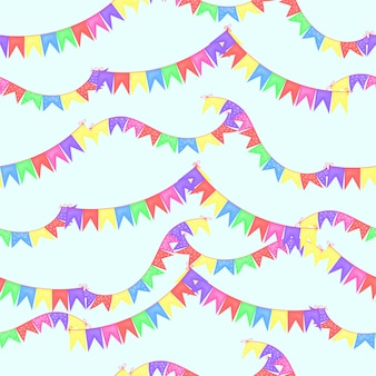 Seamless pattern with a garland of flags. cartoon style Premium Photo