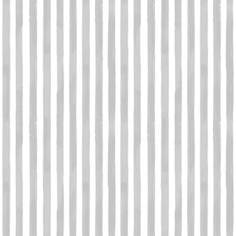 グレーのストライプのシームレスなパターン。水彩の手描きの白と灰色の背景。壁紙、ラッピング、テキスタイル、ファブリック