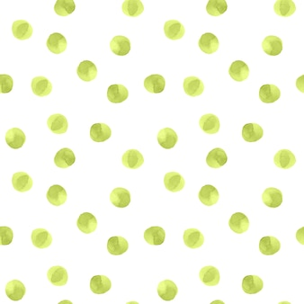Seamless pattern with green dots on white background