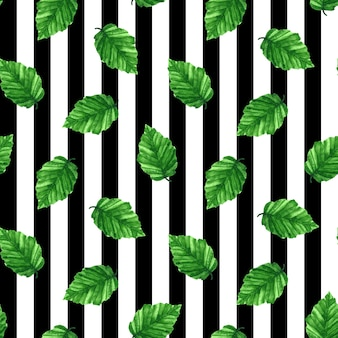 緑の新鮮な葉とのシームレスなパターン。 。水彩手描きイラスト。縞模様