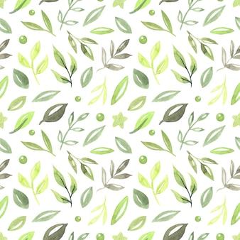 緑の葉とシームレスなパターン、ビンテージ水彩スタイルのイラスト