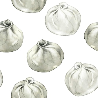 手描きの中国の餃子とのシームレスなパターン