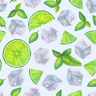 Seamless pattern with hand drawn watercolor ice cubes, mint leaves and lime slices on a light blue surface