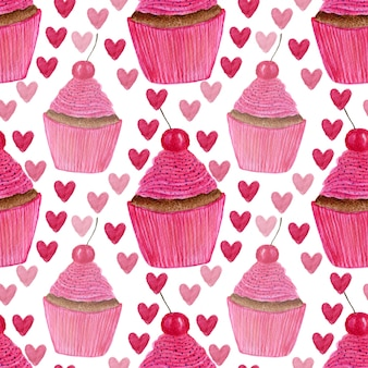 Seamless pattern with hand painted watercolor cupcakes with hearts and sweet cherry.