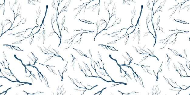 Seamless pattern with illustrations of blue leaves branches isolated on white background
