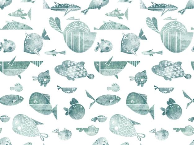 Бесшовный фон с иллюстрациями плоской рыбы с каракули, изолированные на белом фоне