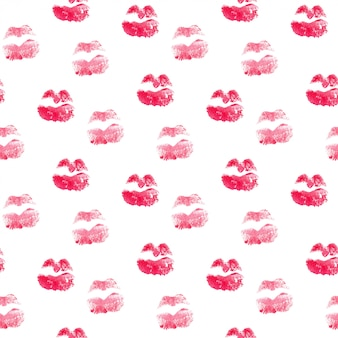Seamless pattern with kiss lips