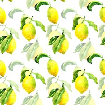 レモンと葉のシームレスなパターン。手描きの水彩イラスト。印刷、ファブリック、テキスタイル、壁紙のテクスチャ。