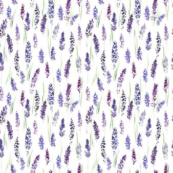 ライラックラベンダーの花とのシームレスなパターン