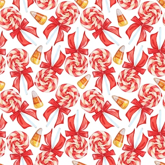 Seamless pattern with lollipops and caramels sweets lollipop clustered in a spiral threecolored