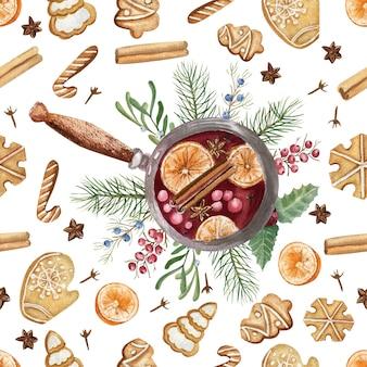 白い孤立した背景にグリューワインとrogdetsvenビスケットとのシームレスなパターン。水彩のクリスマスイラスト