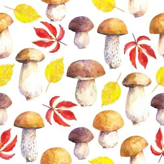 キノコと葉のシームレスなパターン。手描きの水彩画。