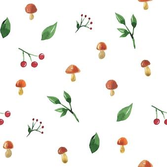 キノコ、ベリー、葉とのシームレスなパターン。手描きの水彩イラスト。印刷、ファブリック、テキスタイル、壁紙のテクスチャ。