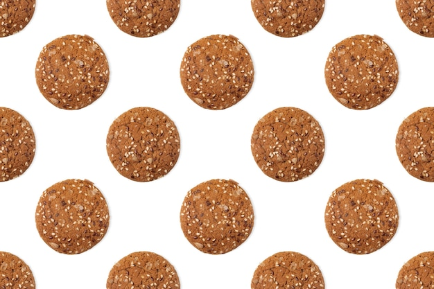 흰색 바탕에 oatcakes와 완벽 한 패턴