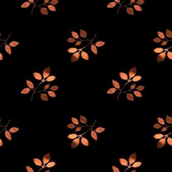 黒にオレンジの葉とのシームレスなパターン。水彩手描きイラスト。壁紙、包装紙、文房具の背景。