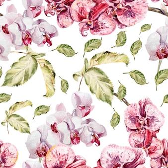 난초 꽃과 잎으로 완벽 한 패턴입니다. 삽화.