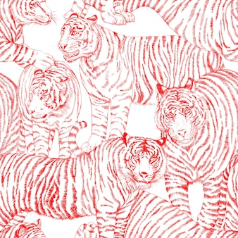 Seamless pattern with painted in gouache tigers in vintage style