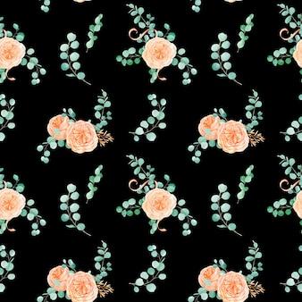 桃とオレンジのイングリッシュローズオースティンの花とユーカリの背景とユーカリのシームレスパターン