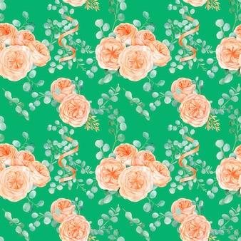 Бесшовный фон с персиком и апельсином с английской розой остин цветок и эвкалипт