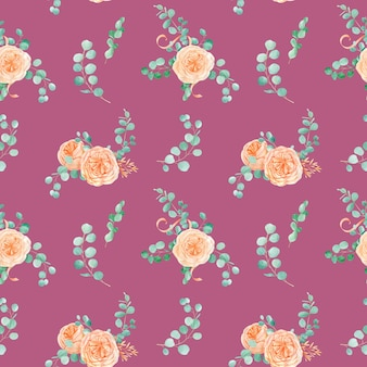 Seamless pattern with peach english rose austin flower and eucalyptus