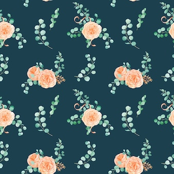 Seamless pattern with peach and orange with english rose austin flower and eucalyptus background and eucalyptus