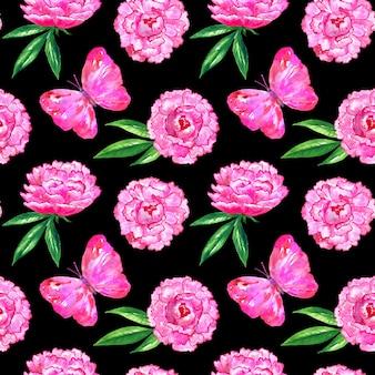 牡丹とピンクの蝶とのシームレスなパターン。手描きの水彩イラスト。印刷、ファブリック、テキスタイル、壁紙のテクスチャ。