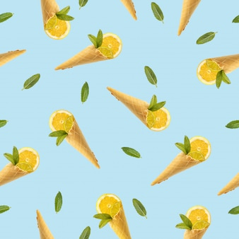 Seamless pattern with a picture of a horn for ice cream, lemon and mint