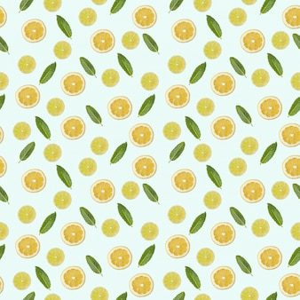 Seamless pattern with a picture of lemon, lime and mint.